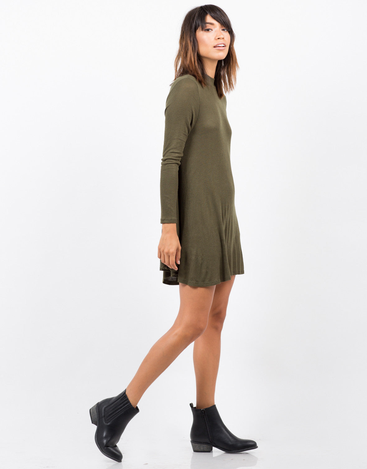 1d56f6328a80 Ribbed Mock Neck Swing Dress - Green Dress - Day Dress – 2020AVE