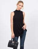 Front View of Ribbed Mock Neck Tank Top