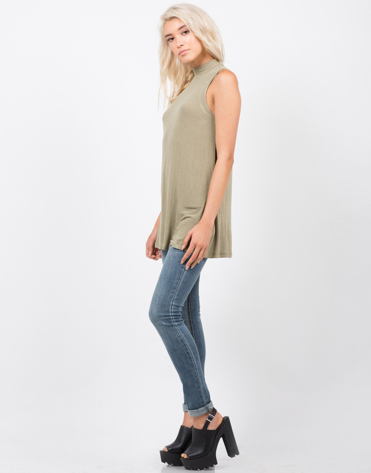 Side View of Ribbed Mock Neck Tank Top
