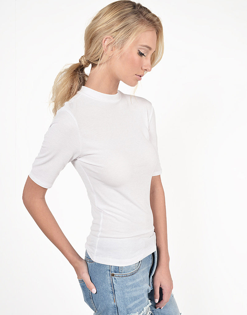 Ribbed Mock Neck Top - 2020AVE