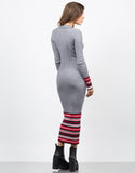 Back View of Ribbed Multi Knit Maxi Dress