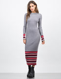 Front View of Ribbed Multi Knit Maxi Dress