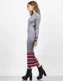 Side View of Ribbed Multi Knit Maxi Dress