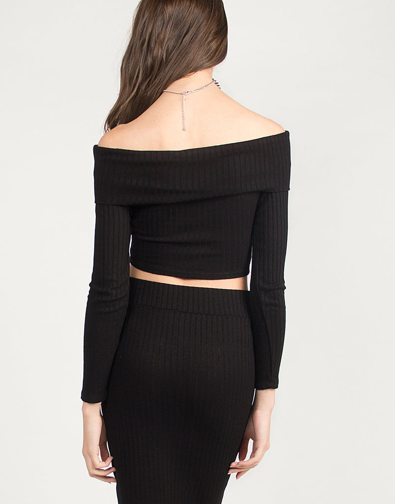 Ribbed Off The Shoulder Cropped Top - 2020AVE