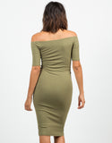 Back View of RIbbed Off The Shoulder Dress