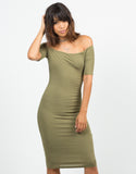 Front View of RIbbed Off The Shoulder Dress