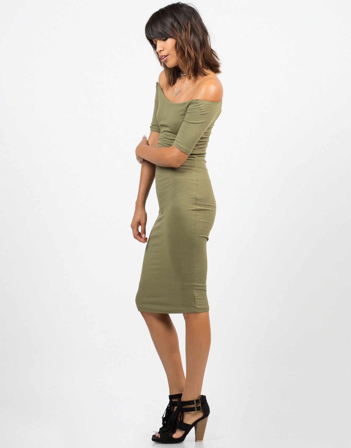 Side View of RIbbed Off The Shoulder Dress