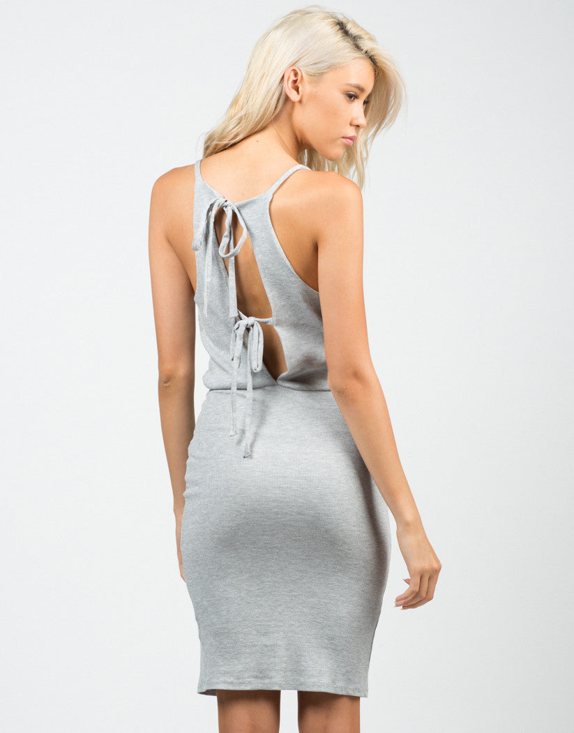 Back View of Ribbed Open Back Dress