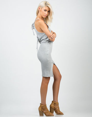 Side View of Ribbed Open Back Dress
