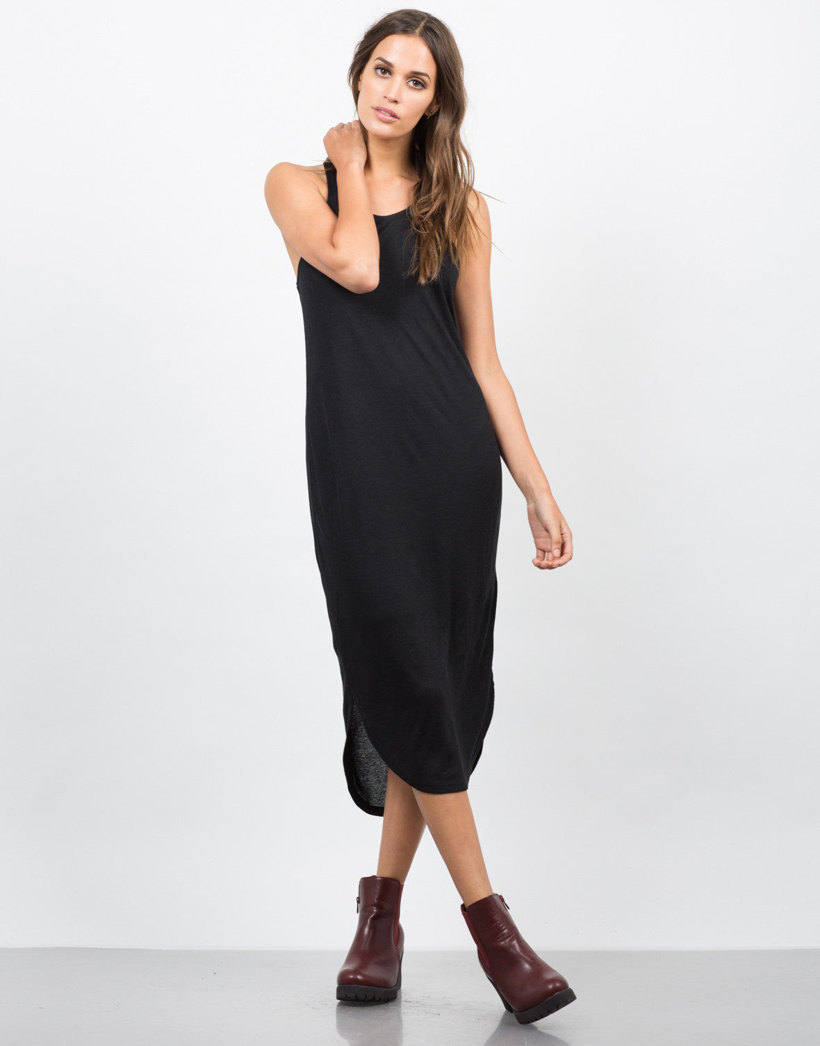 Front View of Ribbed Racerback Midi Dress