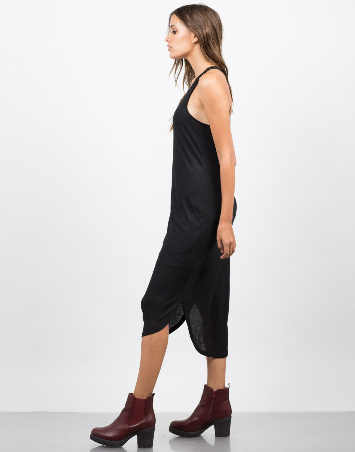 Side View of Ribbed Racerback Midi Dress