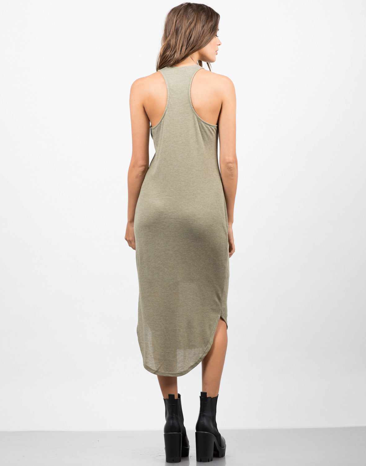 Back View of Ribbed Racerback Midi Dress