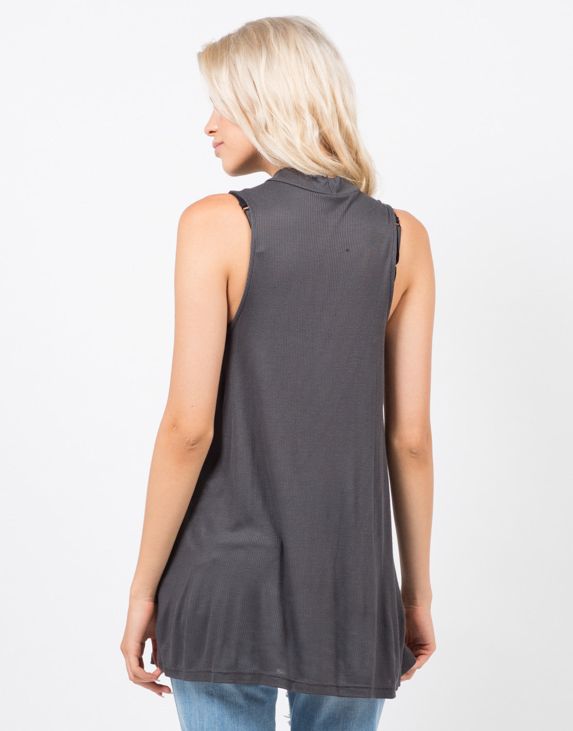 Back View of Ribbed Shift Tunic Top