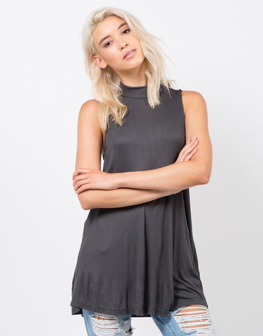 Front View of Ribbed Shift Tunic Top