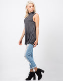 Side View of Ribbed Shift Tunic Top