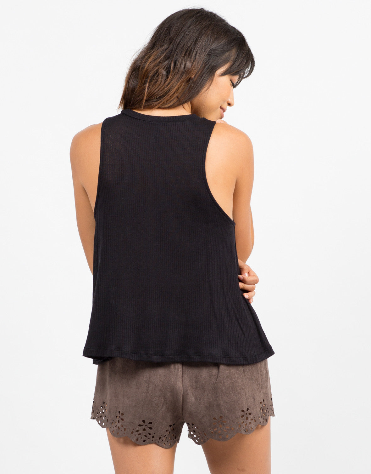 Back View of Ribbed Sleeveless Tank