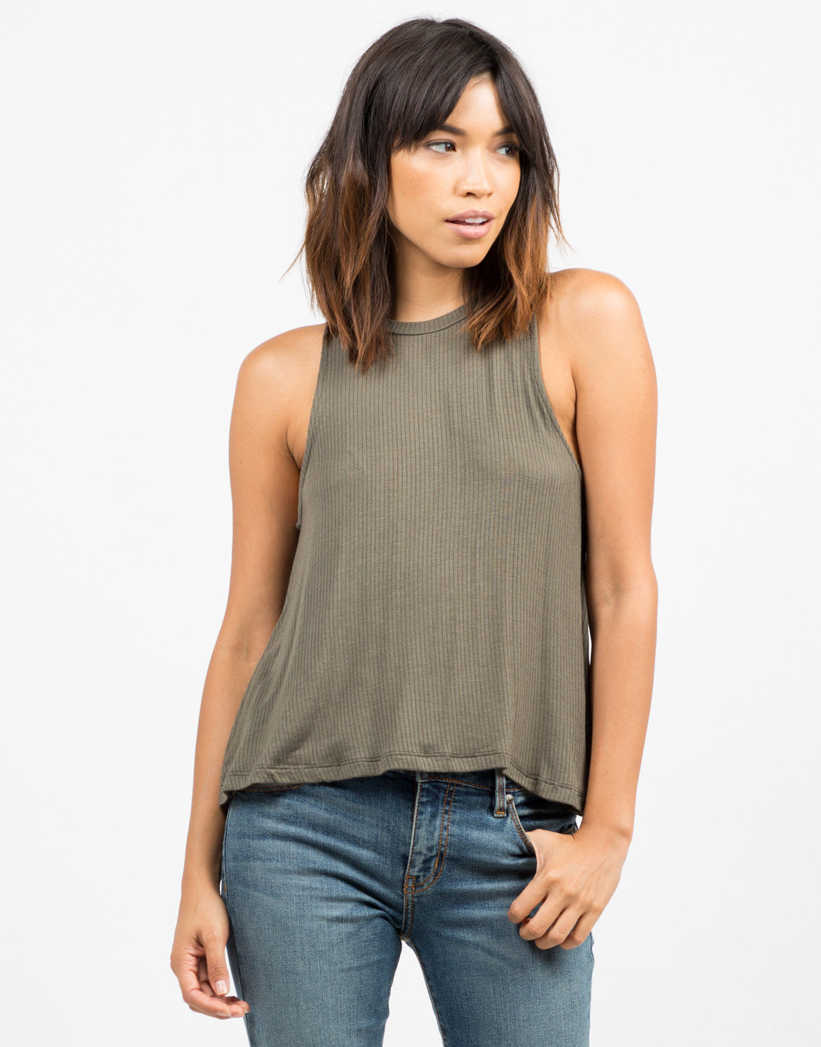 Front View of Ribbed Sleeveless Tank