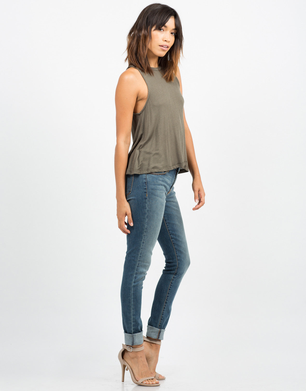 Side View of Ribbed Sleeveless Tank