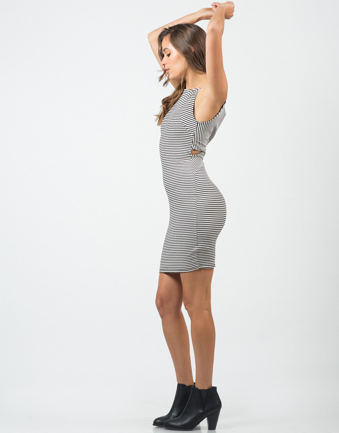 Side View of Ribbed Stripe Dress