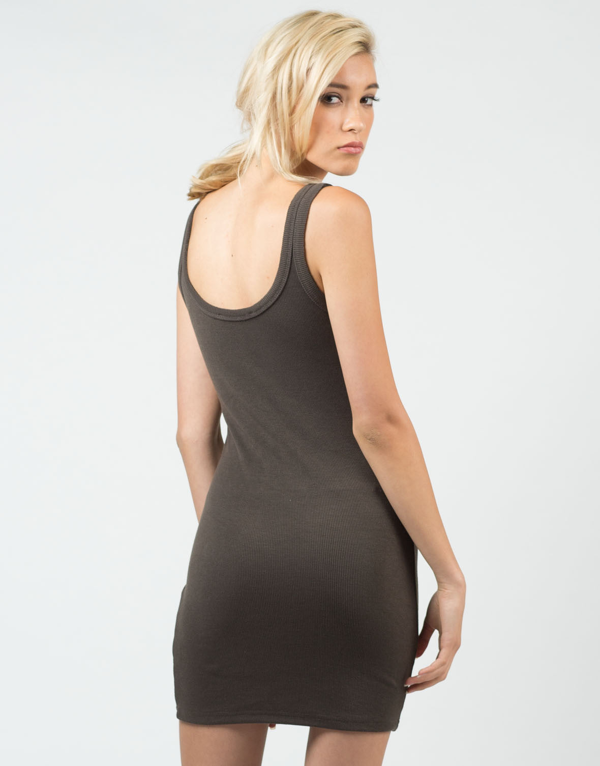 Back View of Ribbed Tank Dress