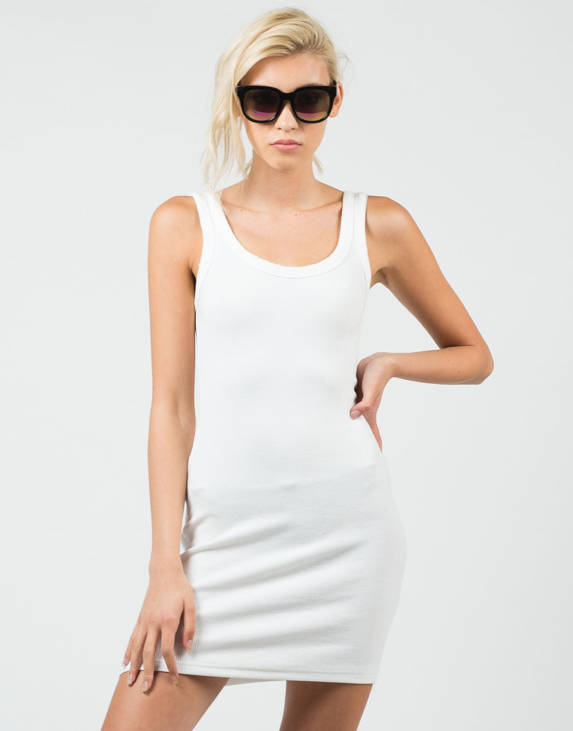 Front View of Ribbed Tank Dress