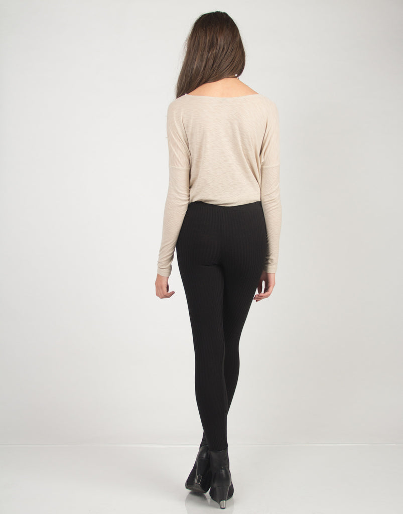 Ribbed Textured Leggings - Black - 2020AVE