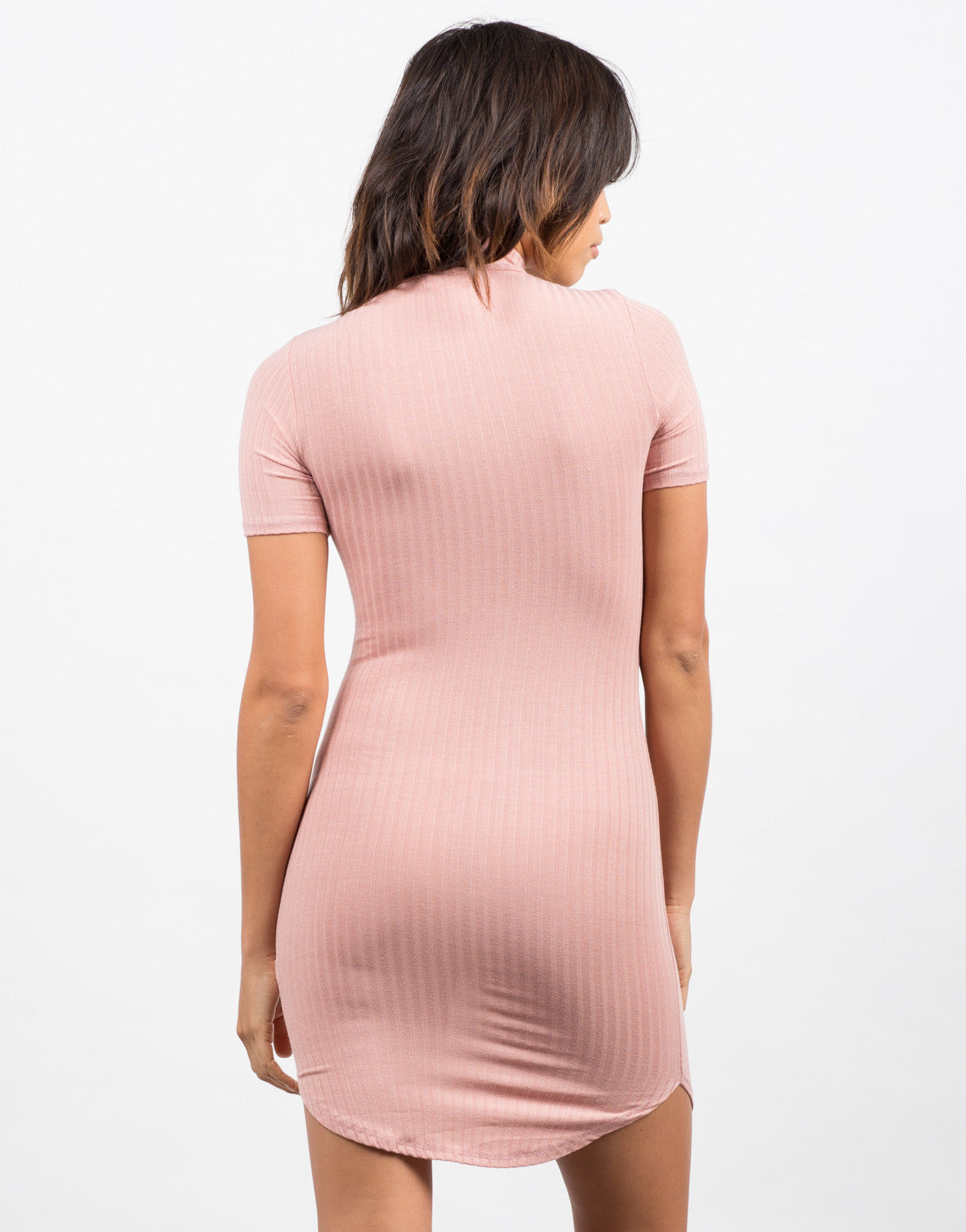 Back View of Ribbed T-Shirt Dress