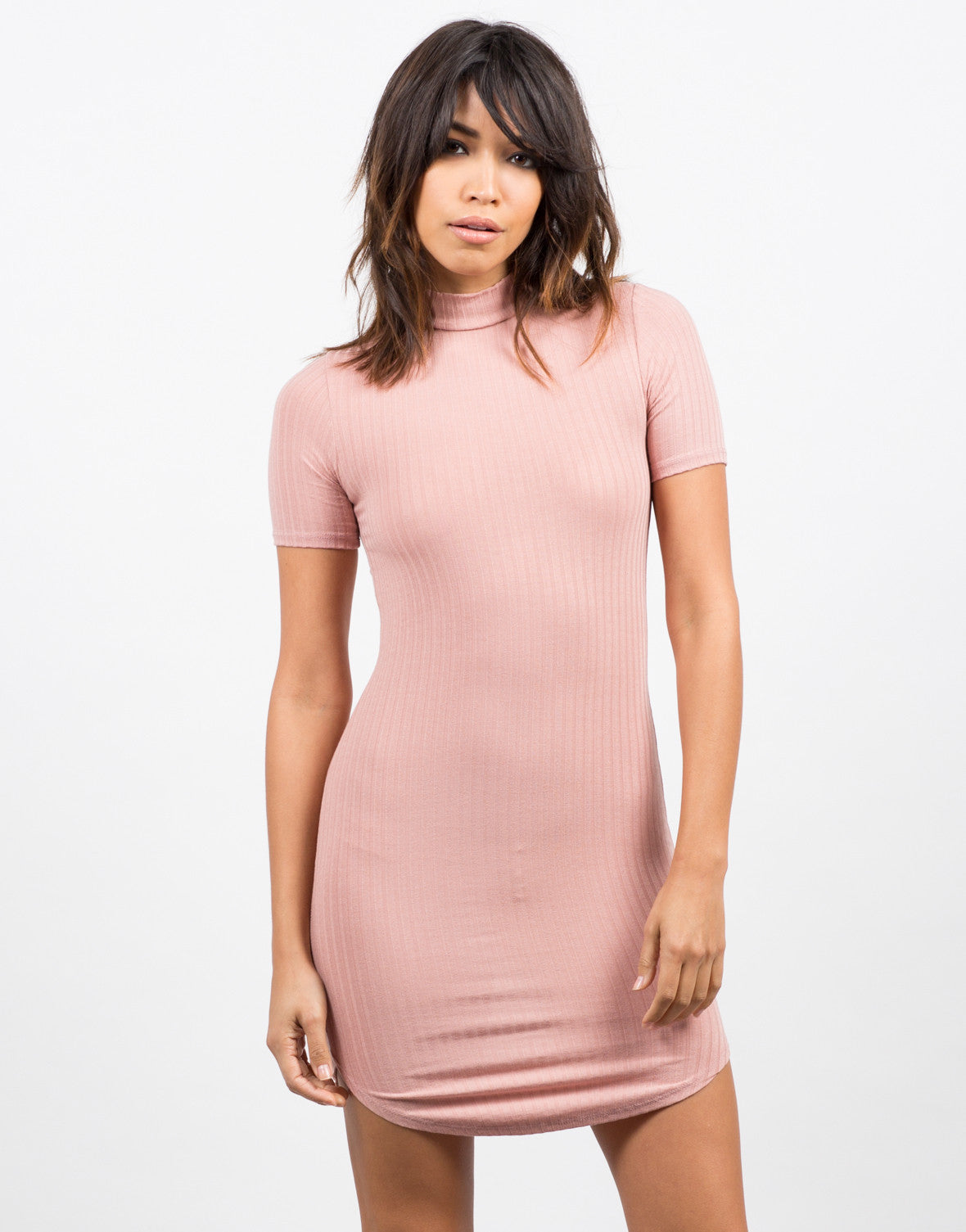 Front View of Ribbed T-Shirt Dress