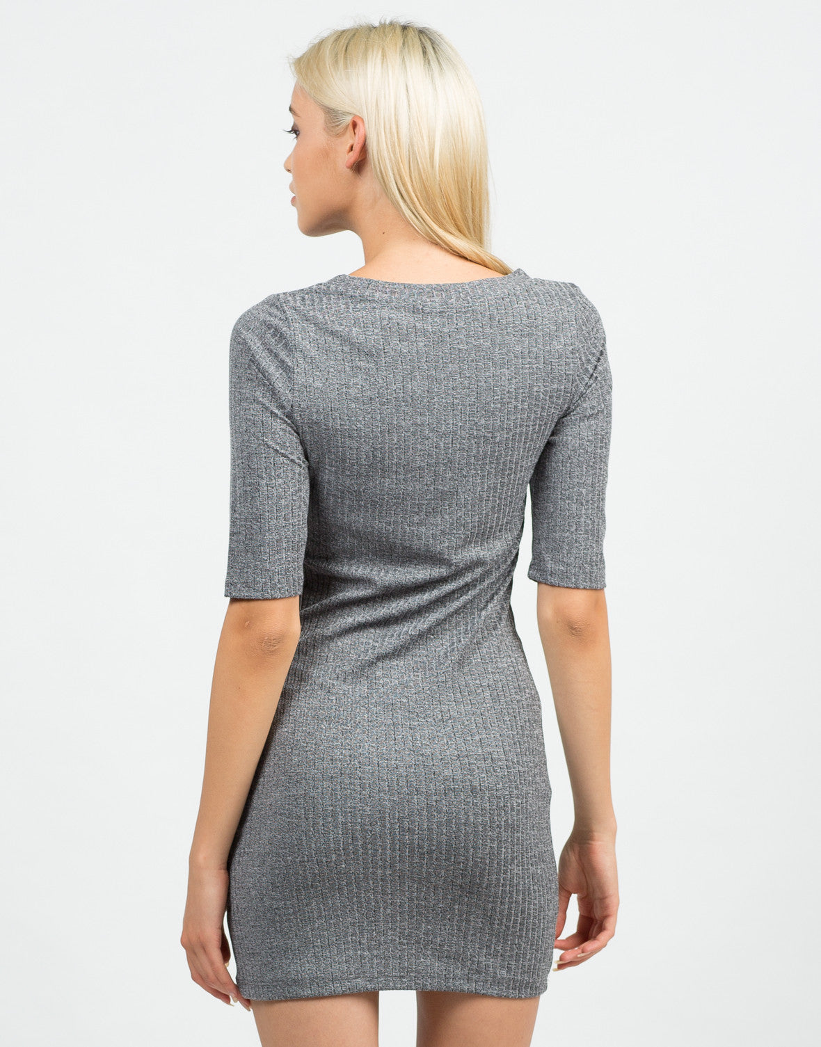 Back View of Ribbed 3/4 Tunic Top
