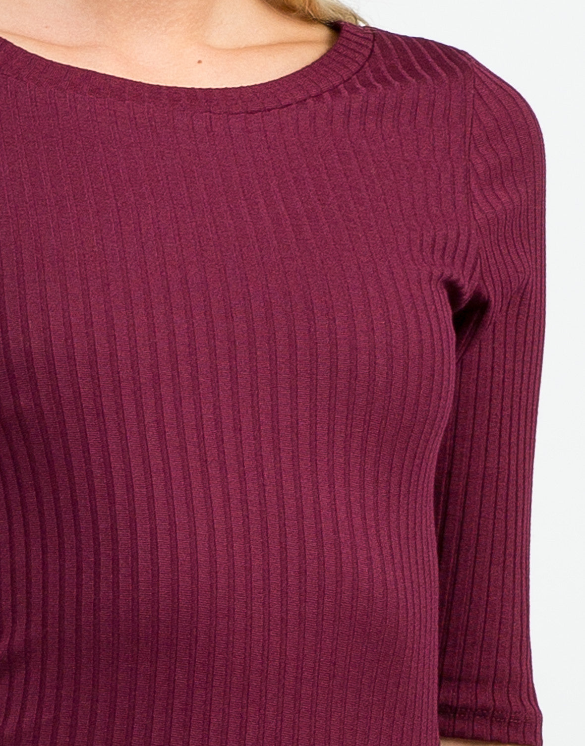 Detail of Ribbed 3/4 Tunic Top