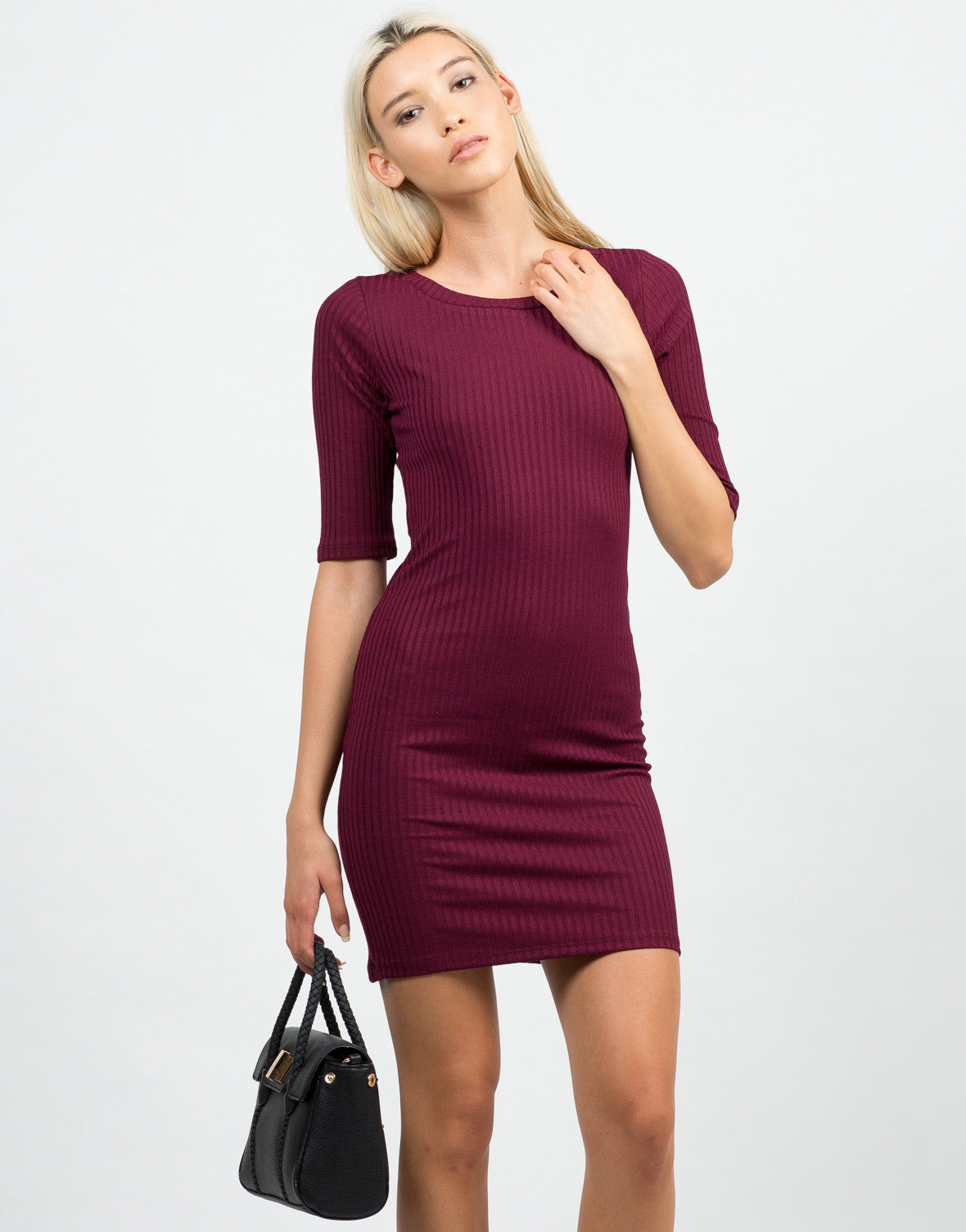 Front View of Ribbed 3/4 Tunic Top