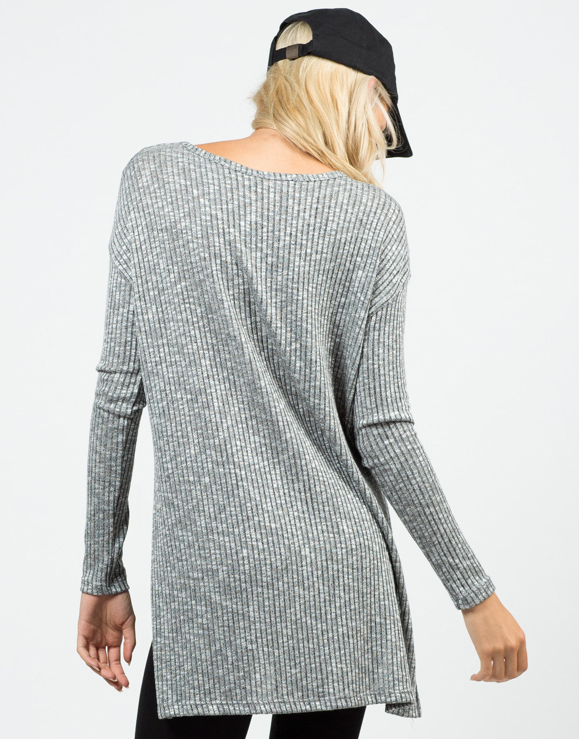 Back View of Ribbed Tunic Top