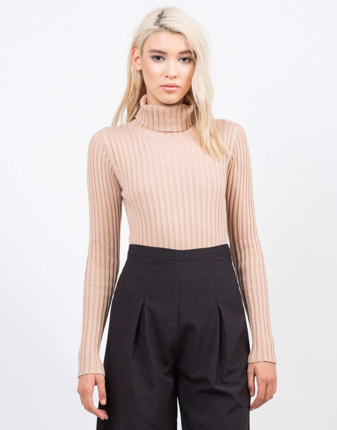 Ribbed Turtleneck Bodysuit - Black Bodysuit