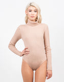 Front View of Ribbed Turtleneck Bodysuit