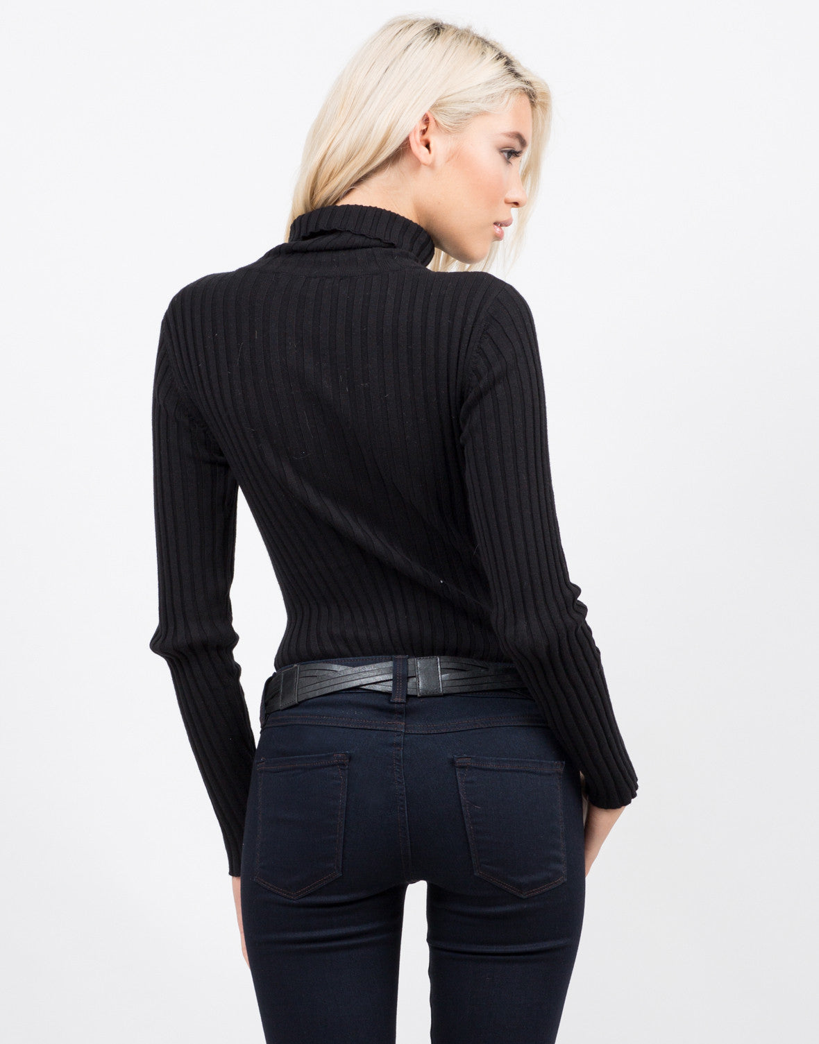 Back View of Ribbed Turtleneck Bodysuit