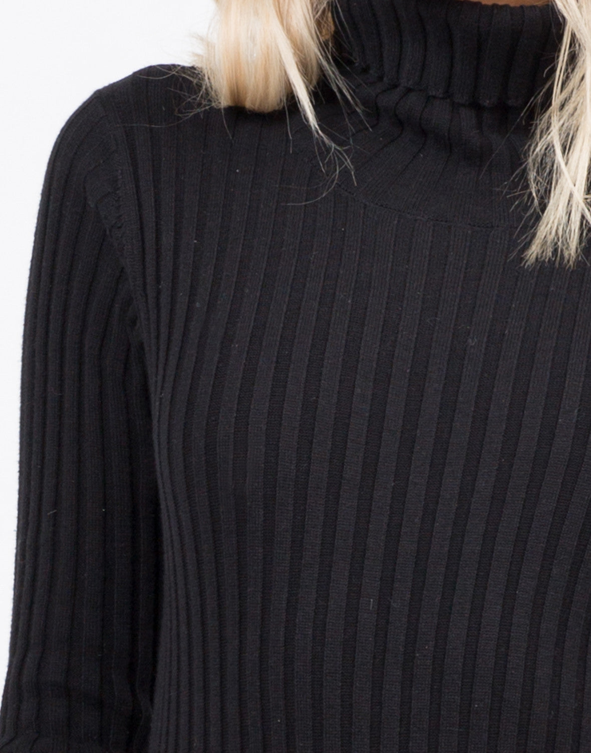Detail of Ribbed Turtleneck Bodysuit