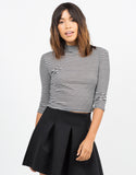 Front View of Ribbed Turtleneck Crop Top