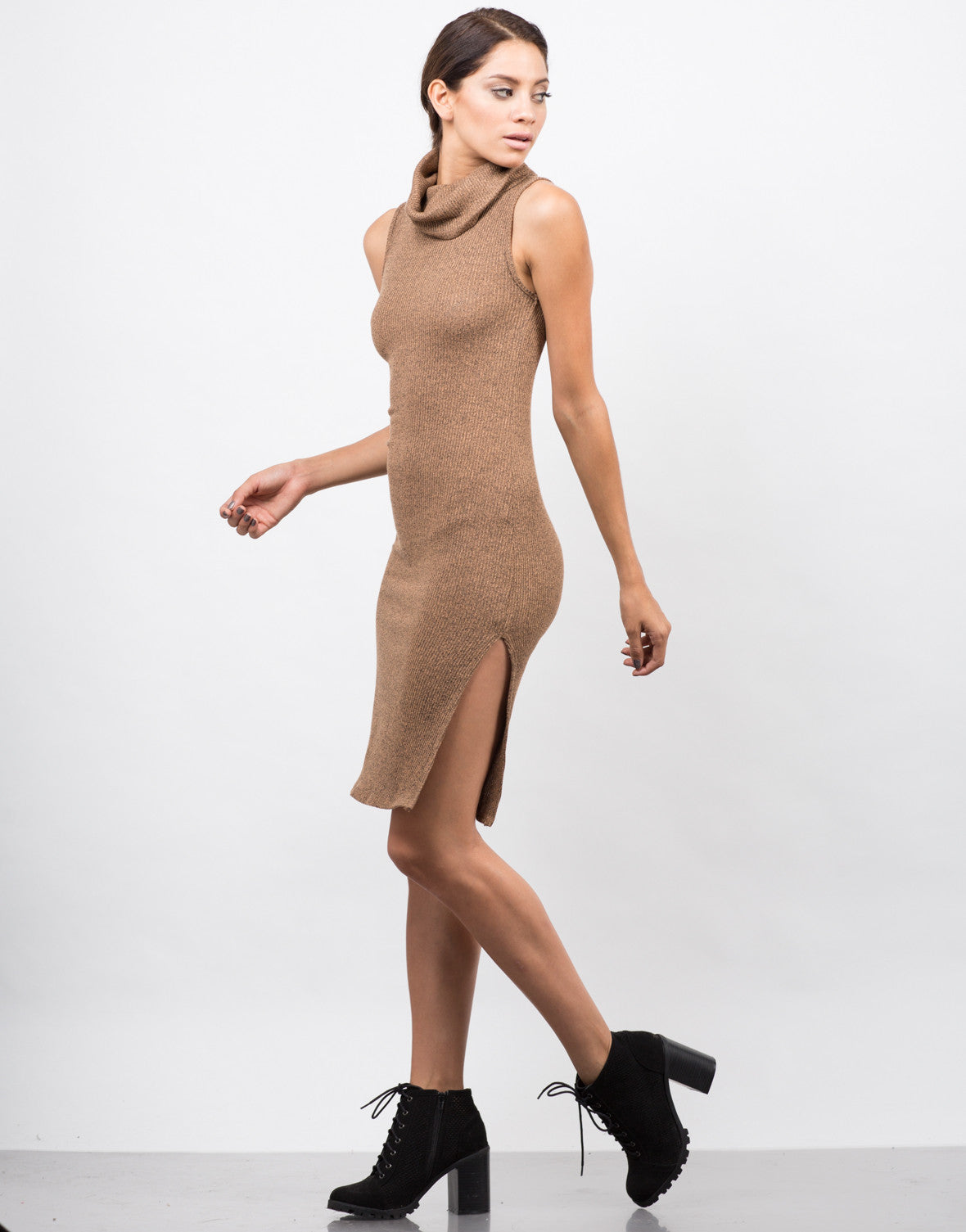 Side View of Ribbed Turtleneck Midi Dress