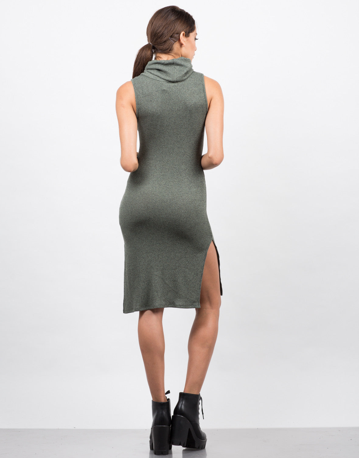 Back View of Ribbed Turtleneck Midi Dress