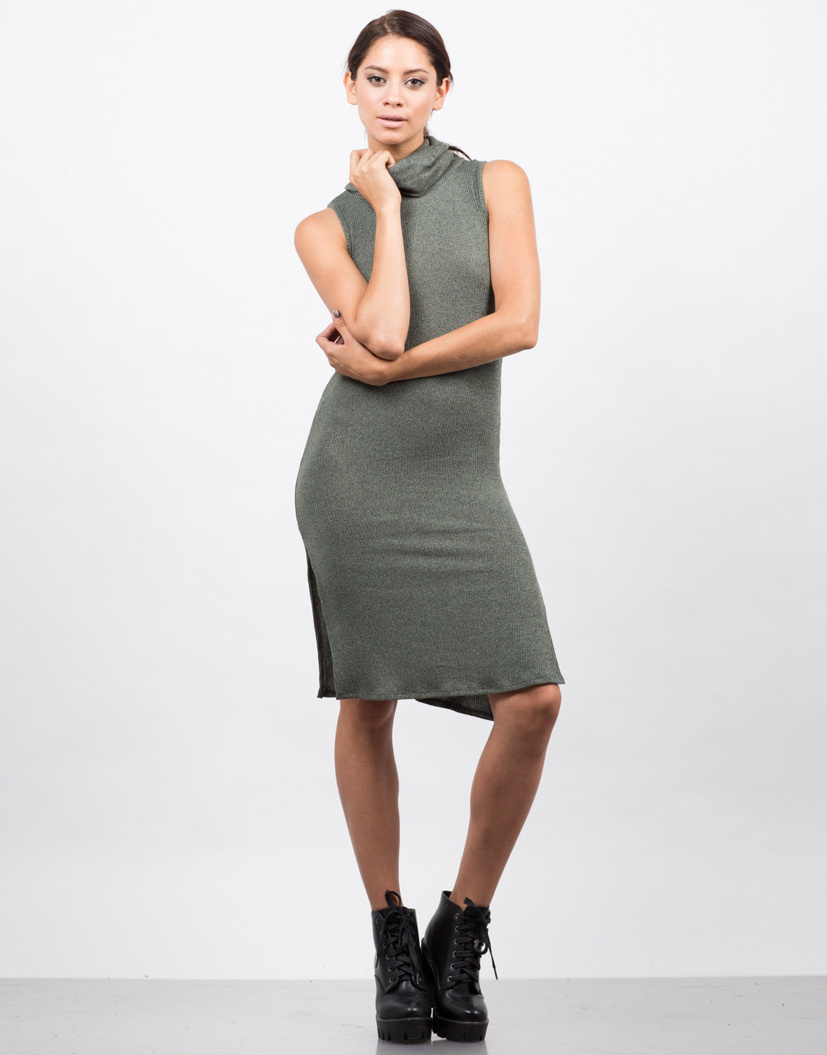 Front View of Ribbed Turtleneck Midi Dress