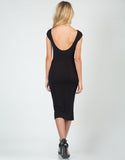 Back View of Ribbed U-Back Midi Dress