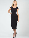 Front View of Ribbed U-Back Midi Dress