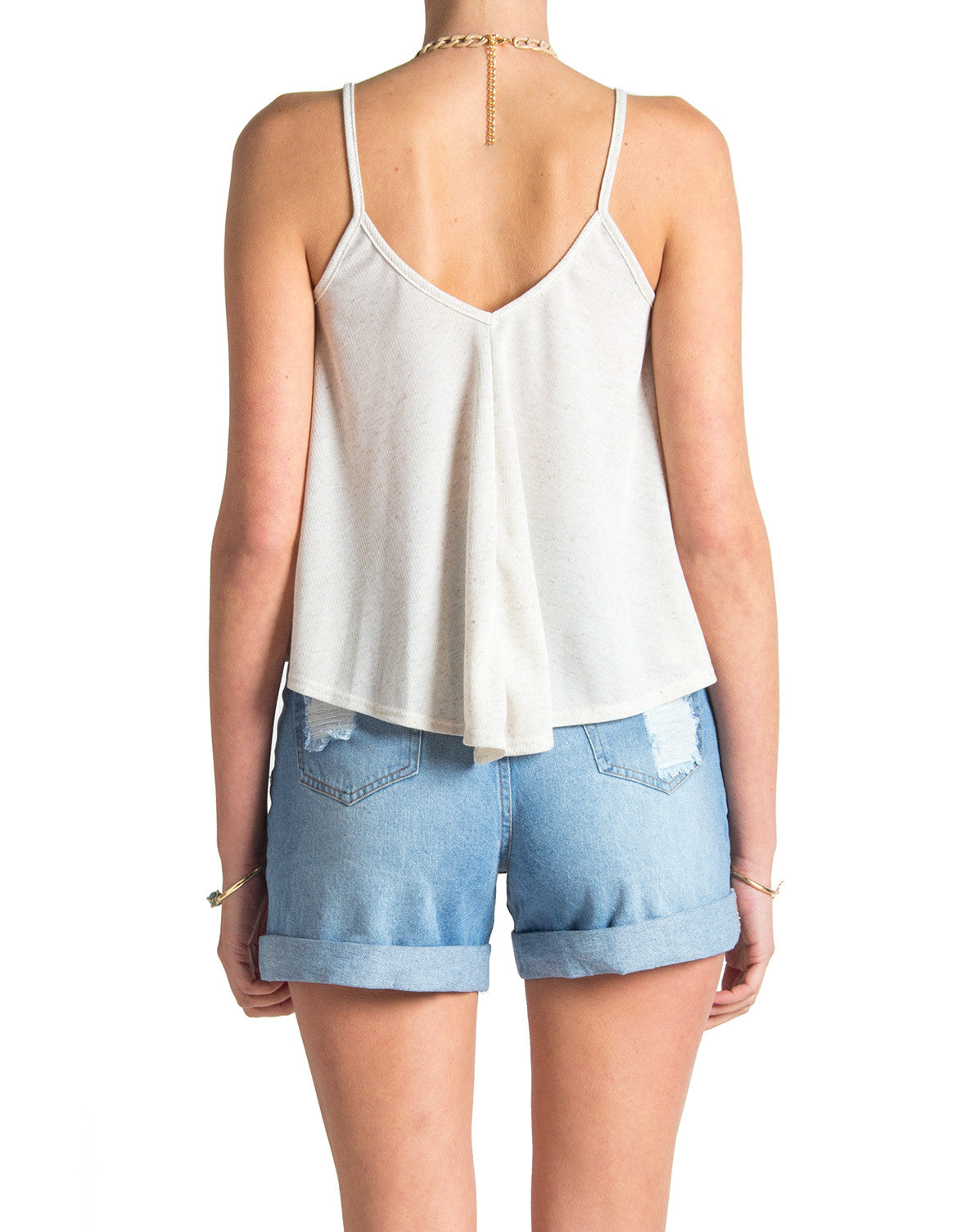 Ribbed V Tank - Oatmeal - Large