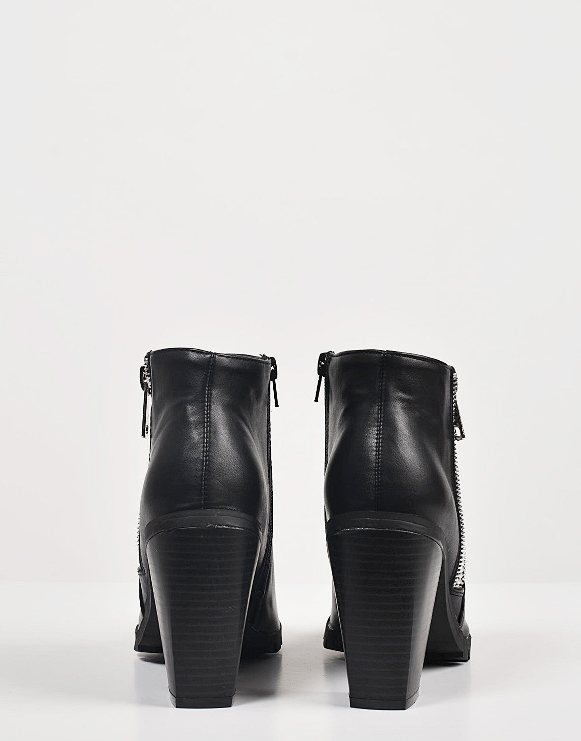 Back View of Ridged Sole Zippered Ankle Boots