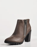 Detail of Ridged Sole Zippered Ankle Boots