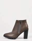 Side View of Ridged Sole Zippered Ankle Boots