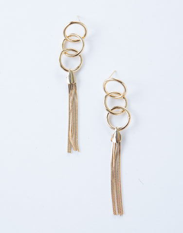 Ring Tassel Drop Earrings