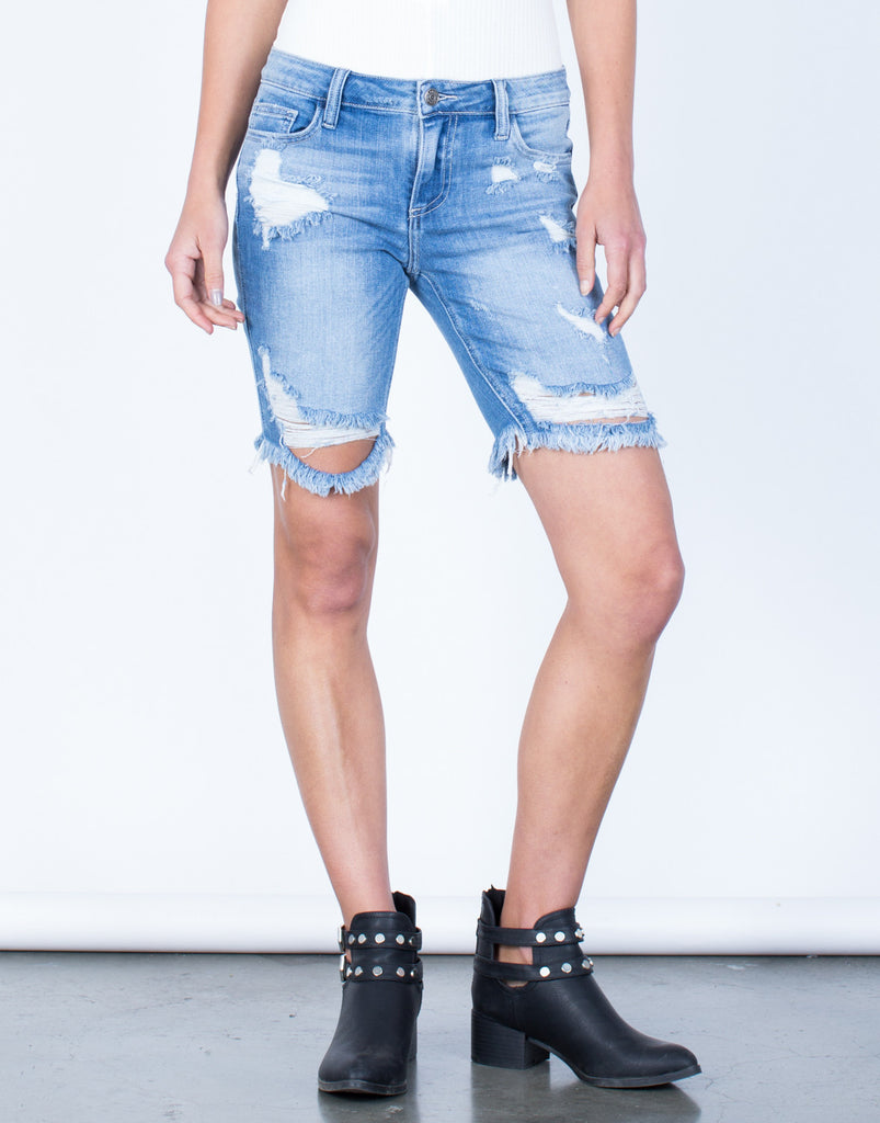 Front View of Ripped Bermuda Shorts