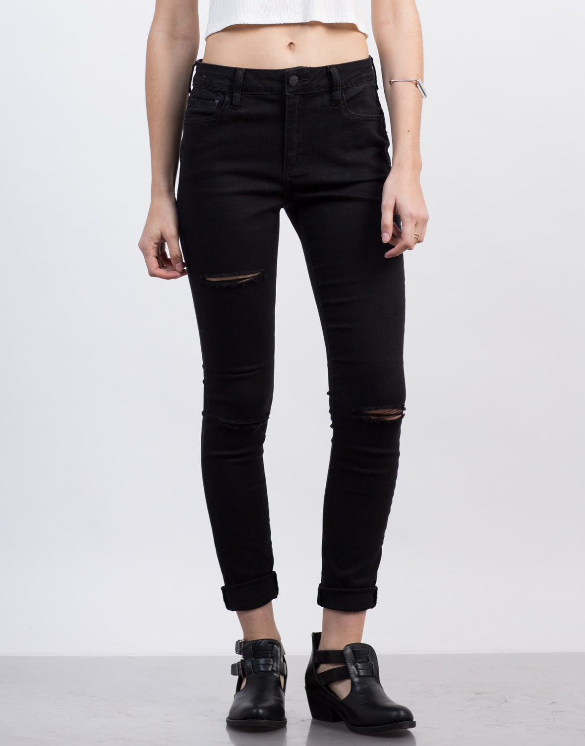 Front View of Ripped Black Skinny Jeans