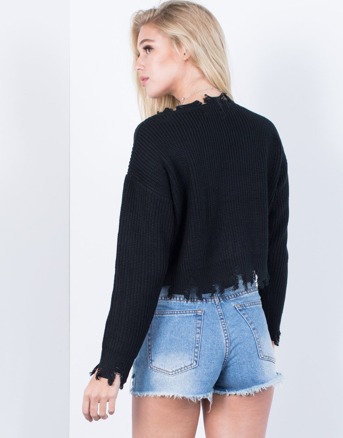 Ripped Edge Crop Sweater - 2020AVE